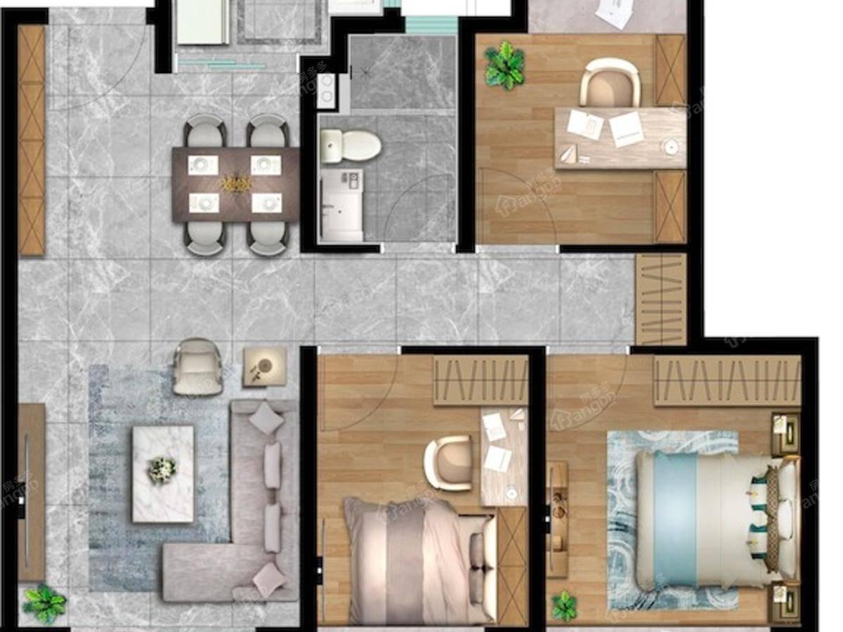 玖里映月3室2厅1卫户型图