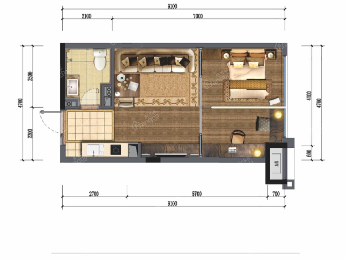 蓝光T-MAX1室1厅1卫户型图