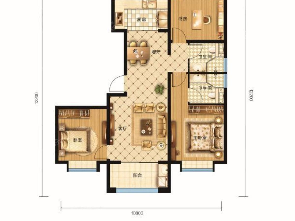 新鹏都·绿岛3室2厅2卫户型图