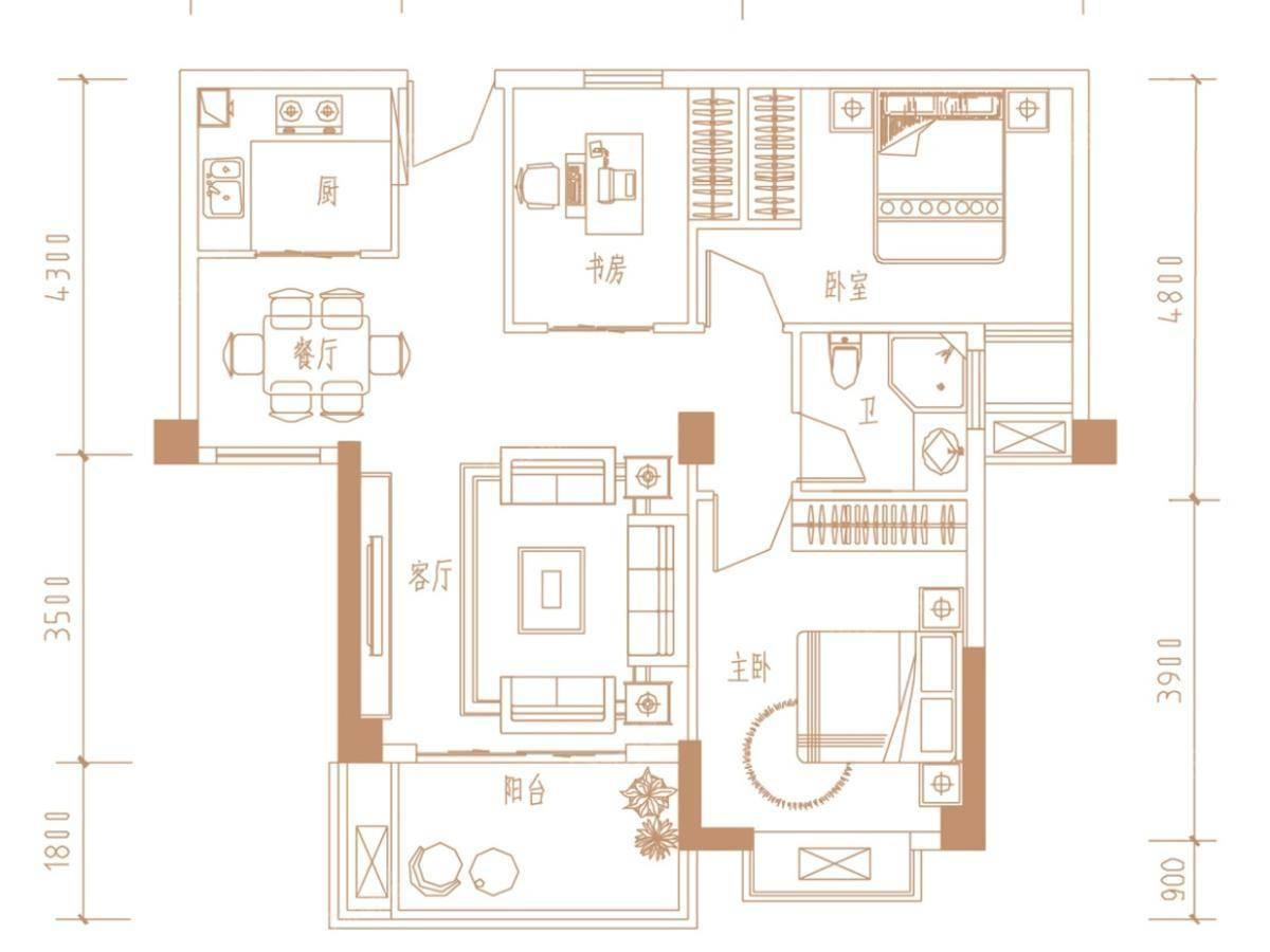 广隆御海尊邸3室2厅1卫户型图