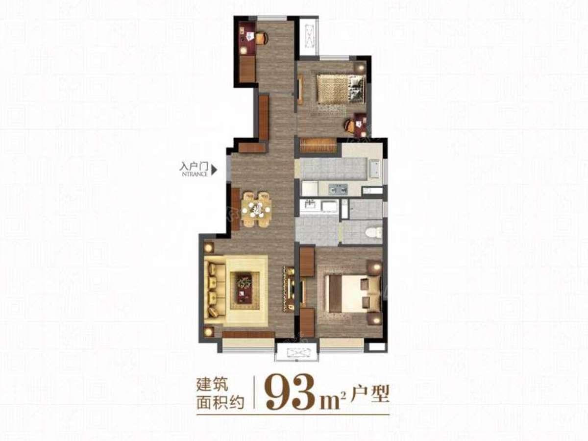 万科-西庐3室1厅1卫户型图