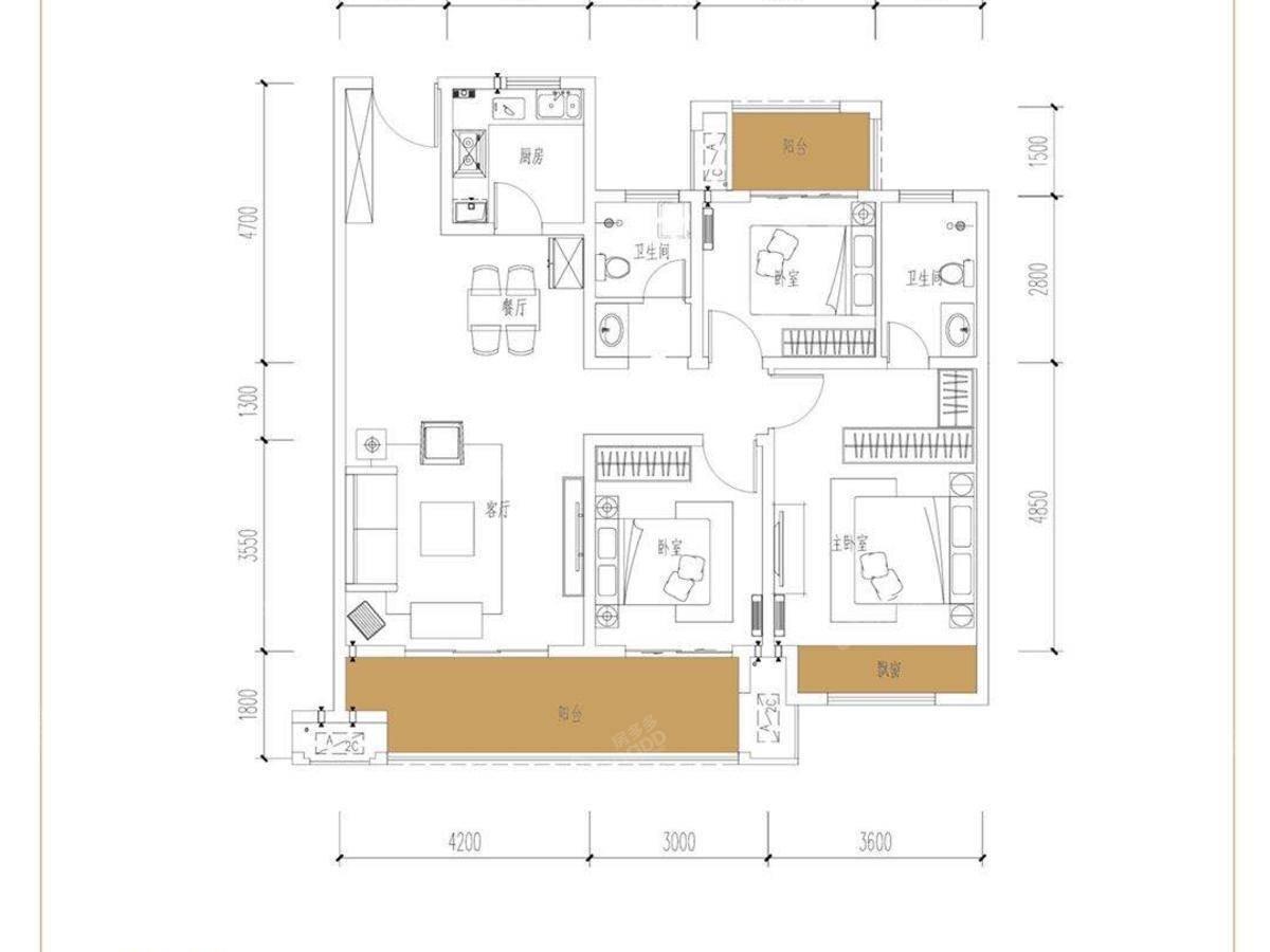 开州百子园3室2厅2卫户型图