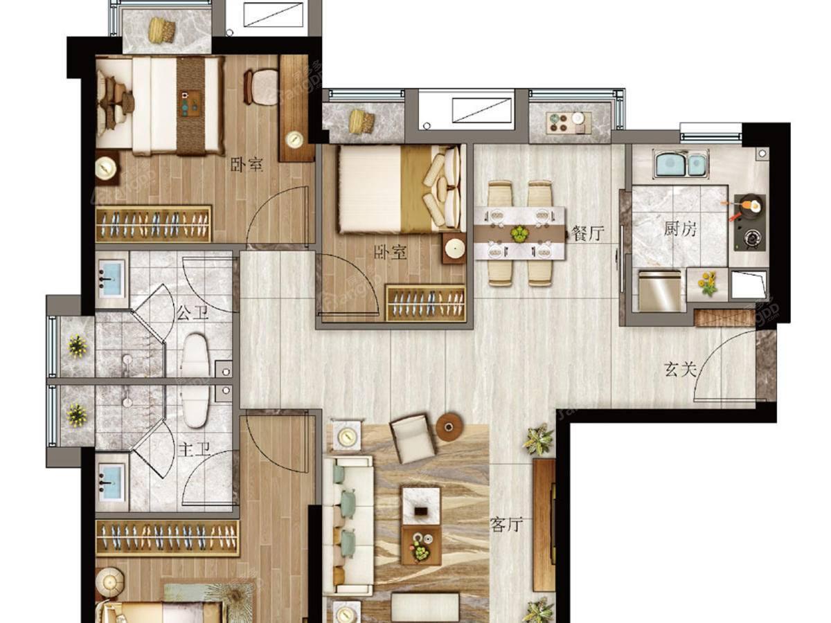 特房樾琴湾3室2厅2卫户型图