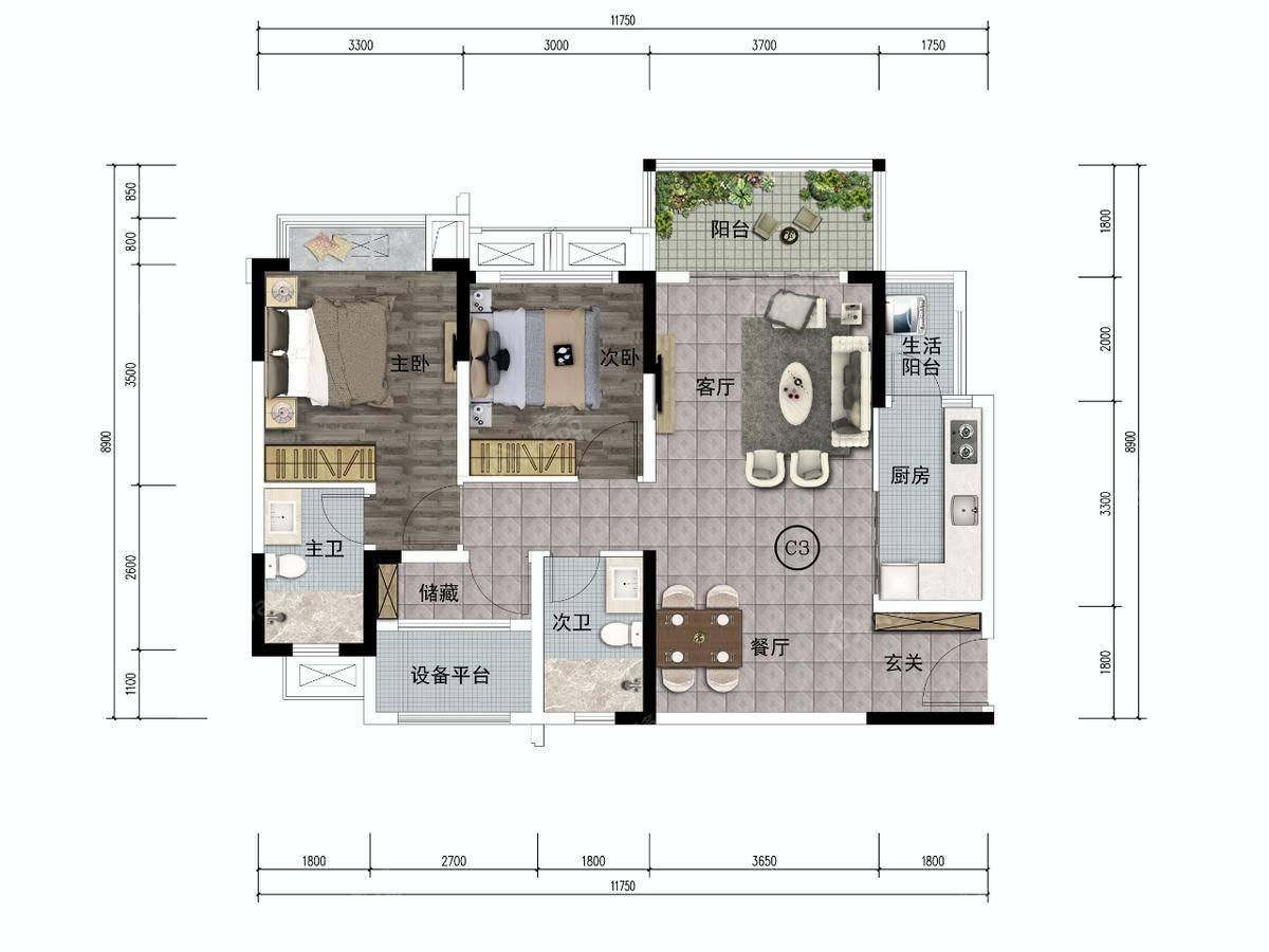 江口水镇3室2厅2卫户型图