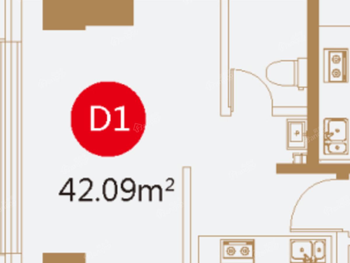 恒昌卢浮公馆1室1厅1卫户型图
