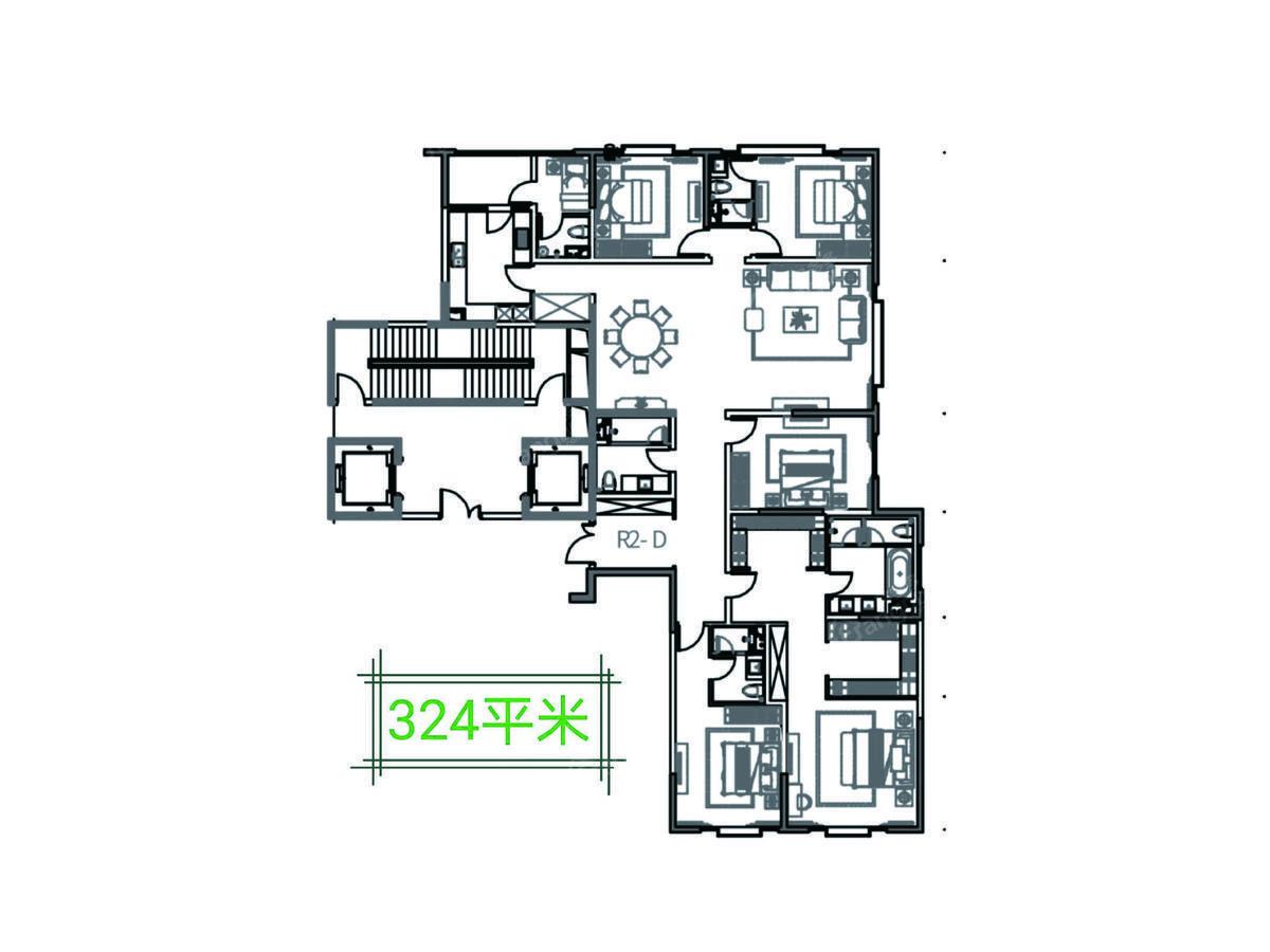 九龙仓静安壹号5室2厅4卫户型图