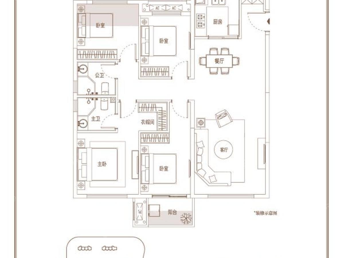 中骏璟峰4室2厅2卫户型图