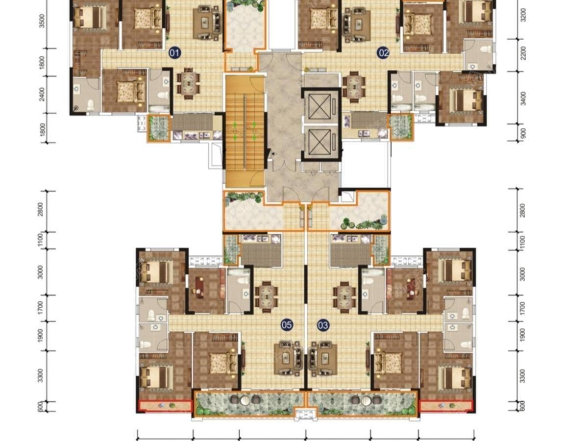 锦绣山水城4室2厅3卫户型图