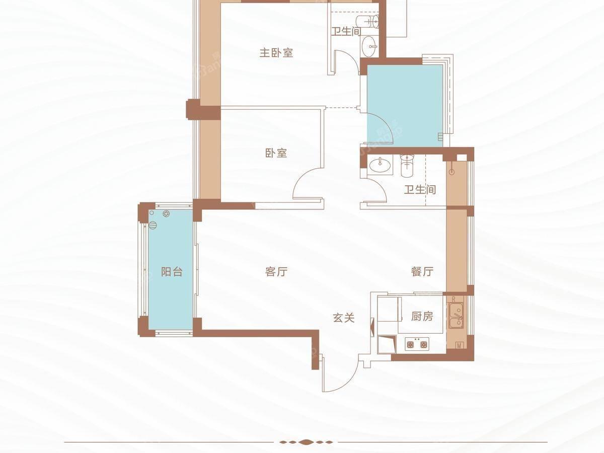 丁山河畔3室2厅2卫户型图