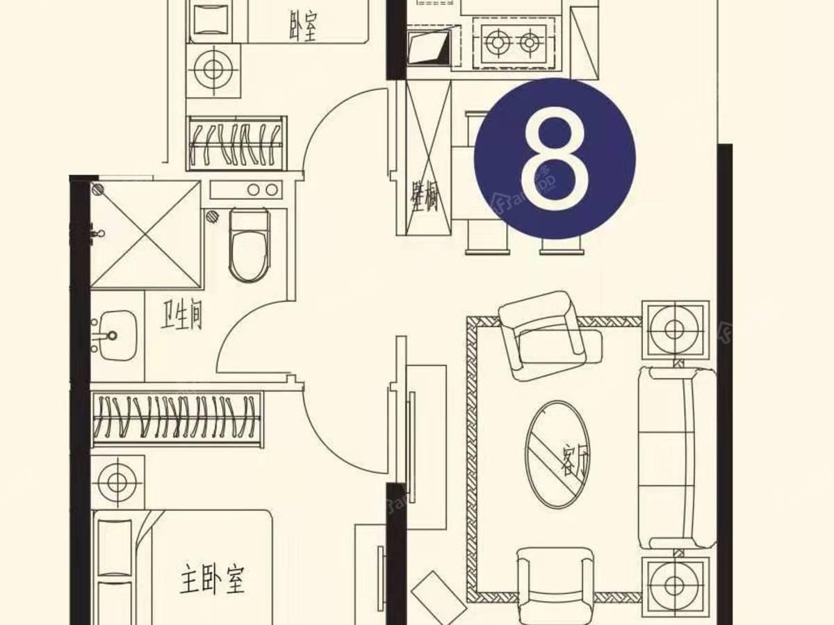 恒大世纪海岸2室2厅1卫户型图