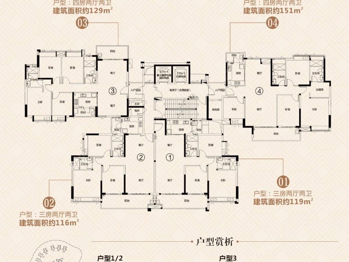富力城4室2厅2卫户型图