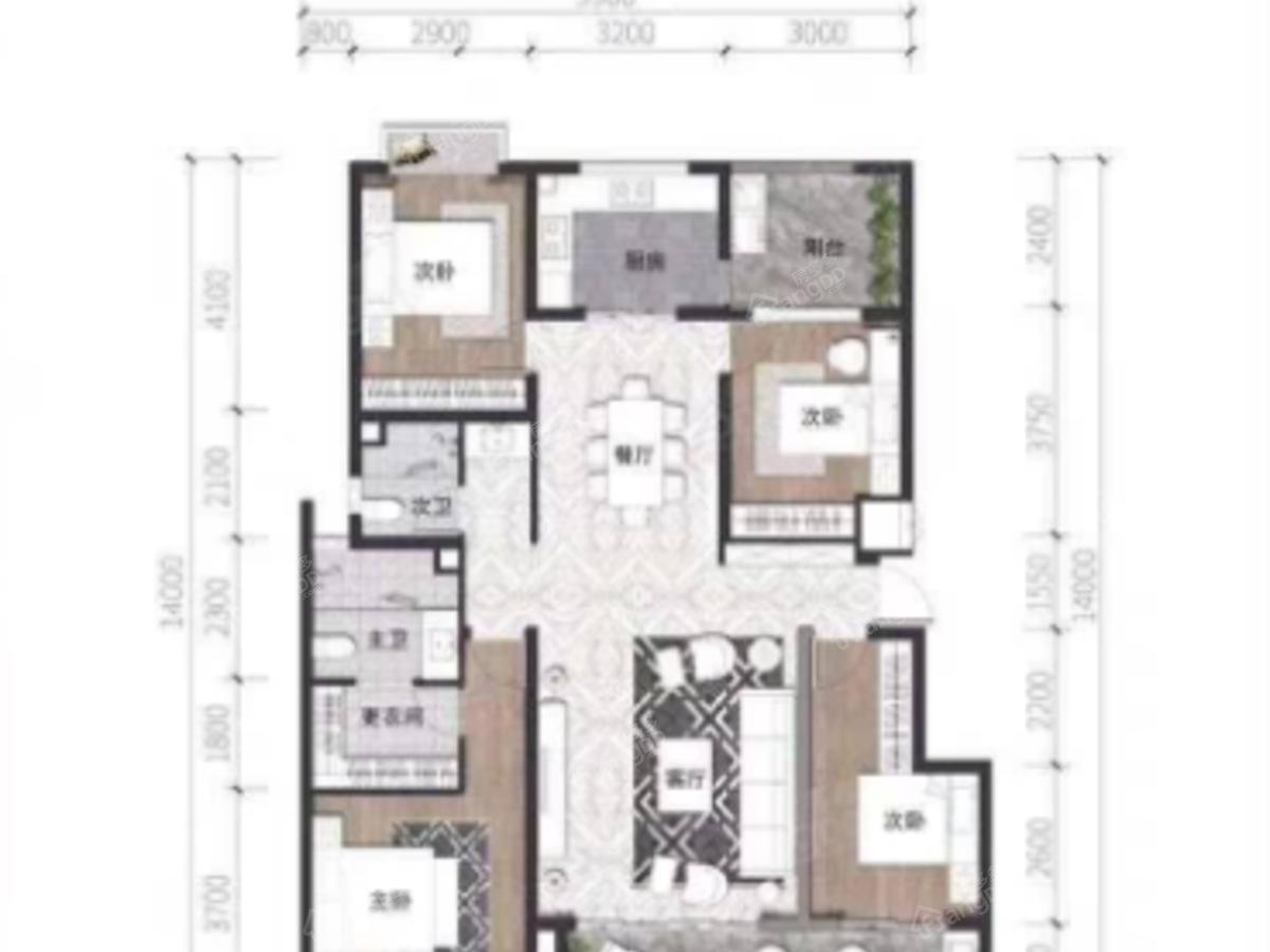 大理银河明珠4室2厅2卫户型图