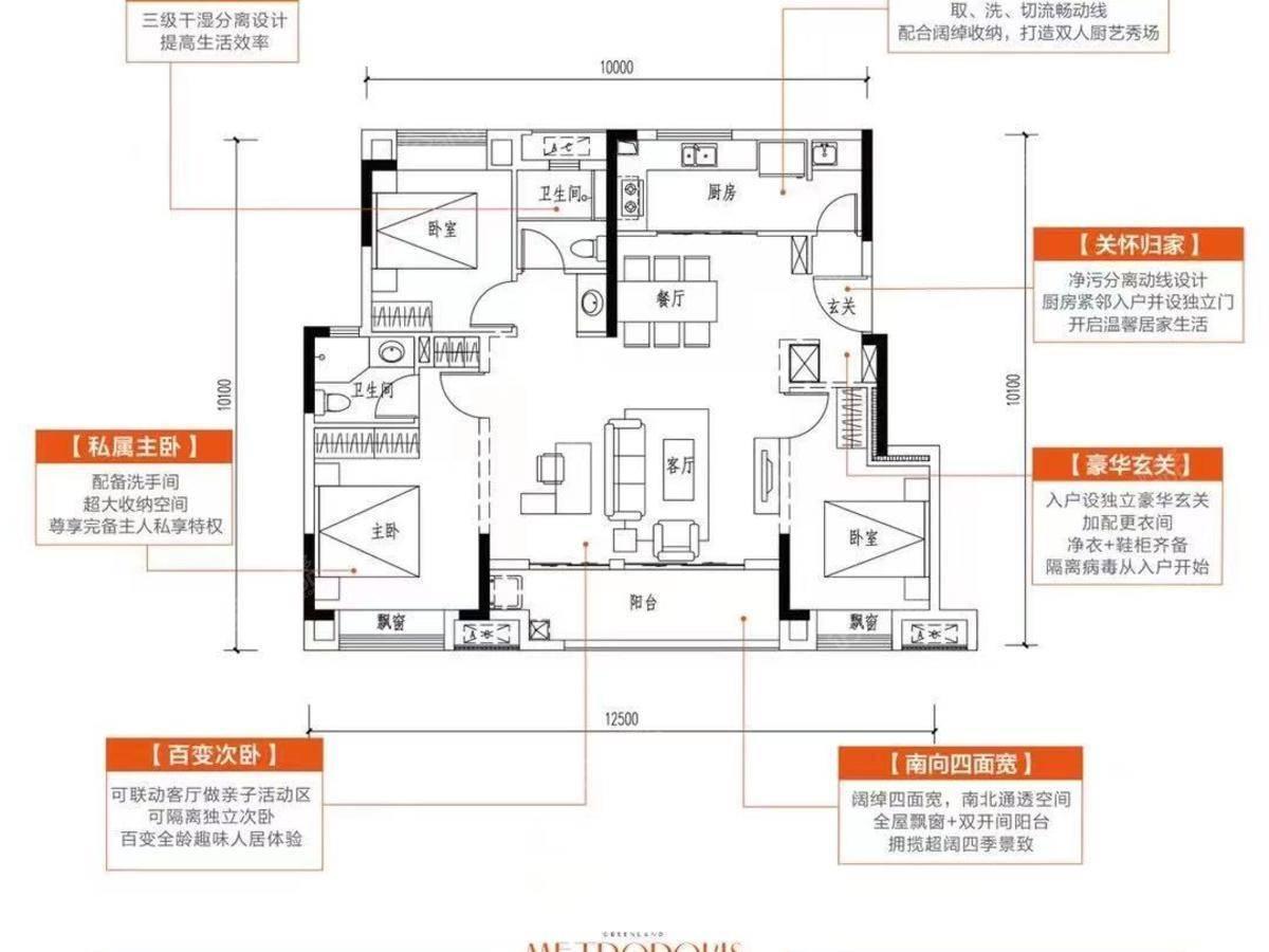 绿地大都会3室2厅2卫户型图