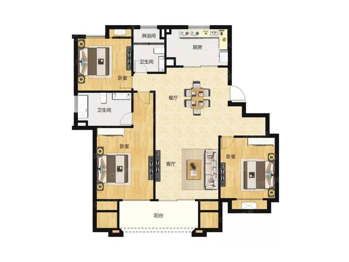 悦城华庭3室2厅2卫户型图