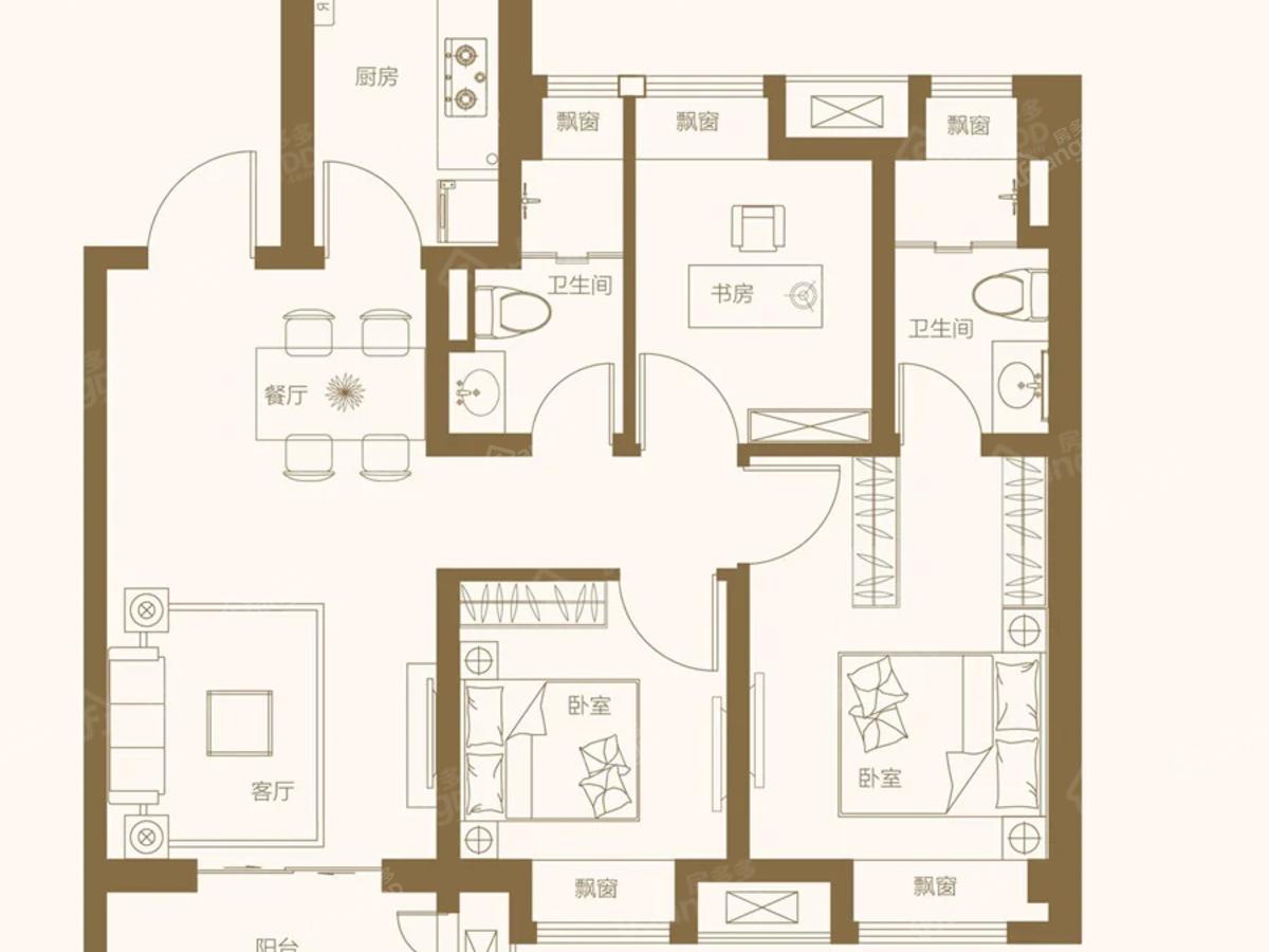 酩悦都会3室2厅2卫户型图