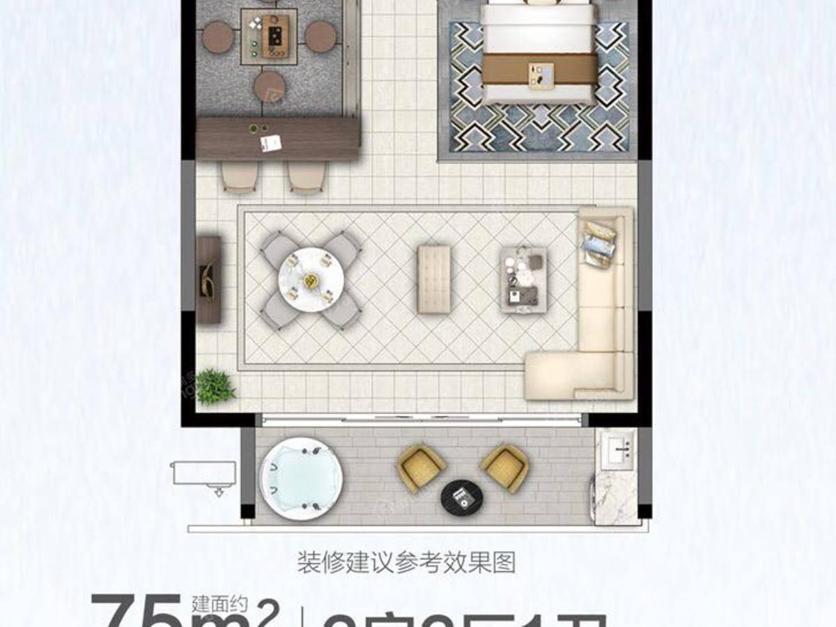 世茂印山海2室2厅1卫户型图