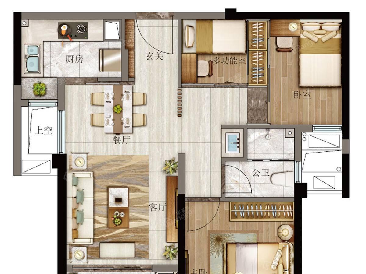 特房樾琴湾3室2厅1卫户型图