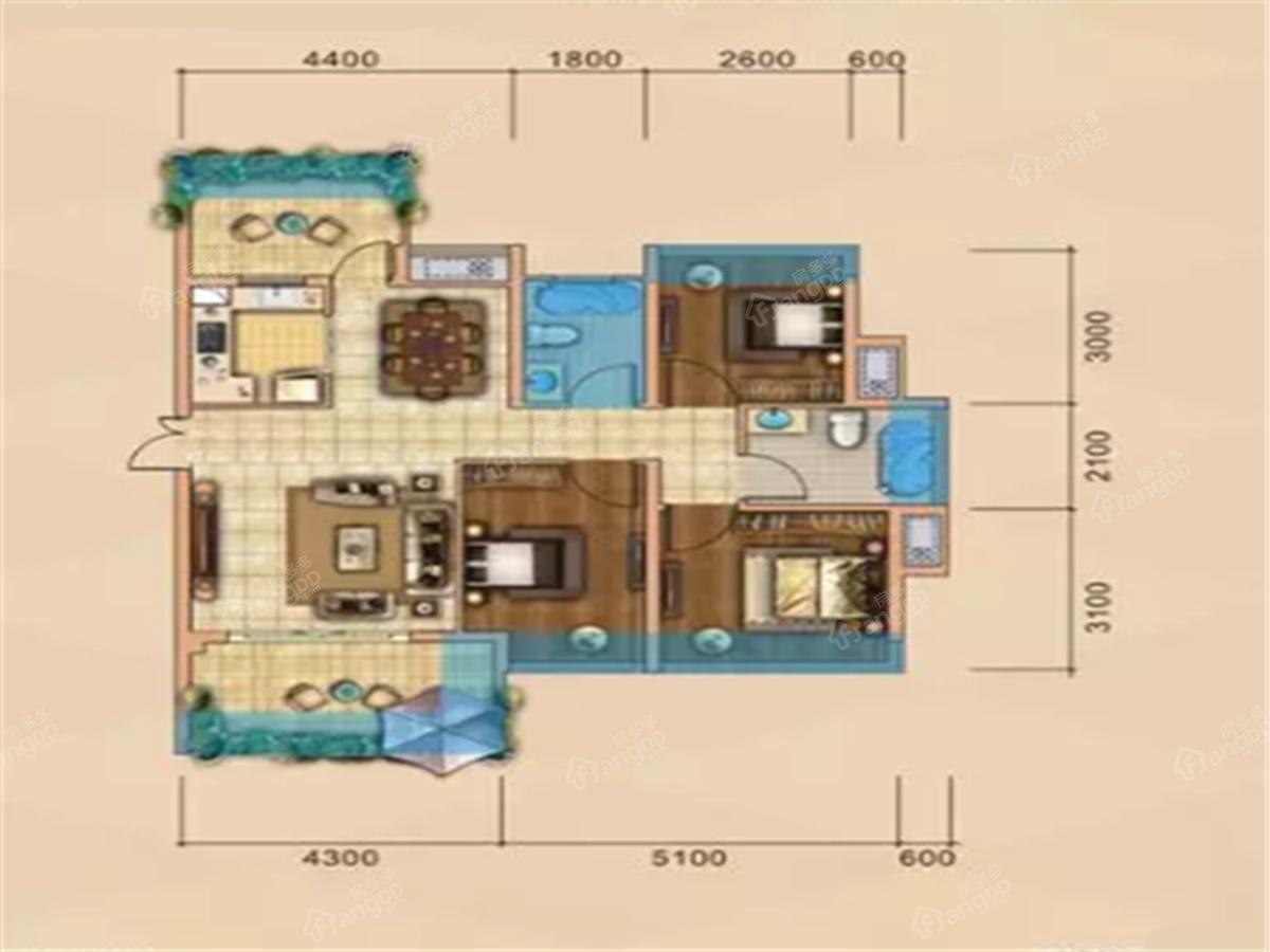 力标添龙湾3室2厅2卫户型图