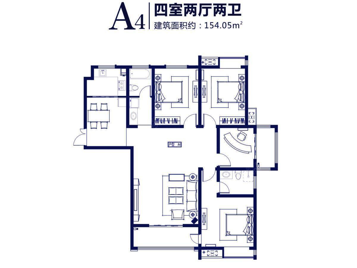 东盟·金水湾4室2厅2卫户型图