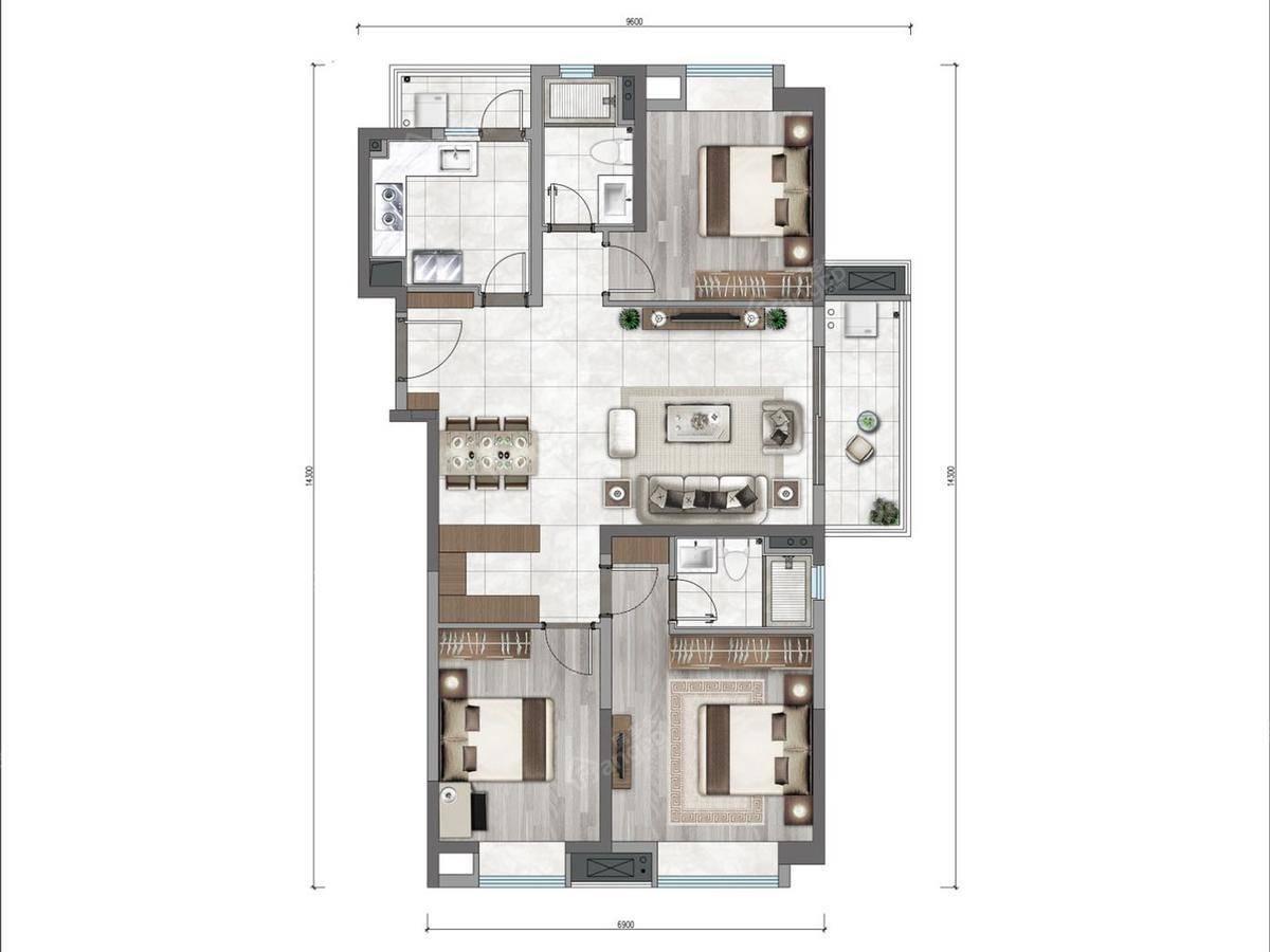 万科云城3室2厅2卫户型图