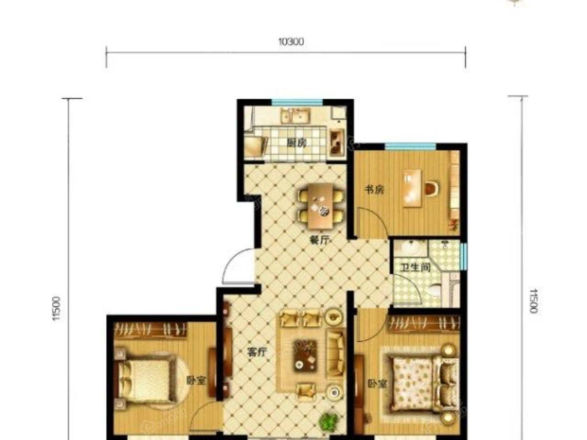 新鹏都·绿岛3室2厅1卫户型图