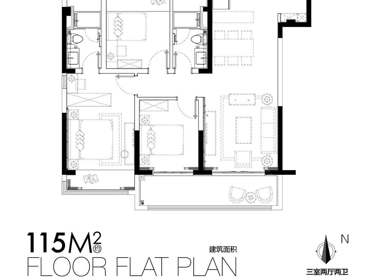 美的云筑3室2厅2卫户型图