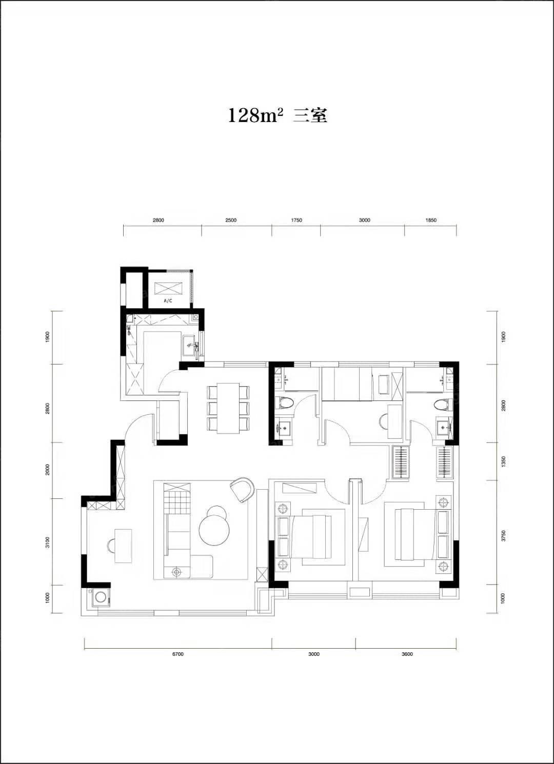 卓越云门3室2厅2卫户型图