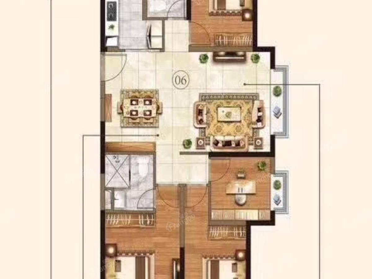 太仓恒大文化旅游城4室2厅2卫户型图