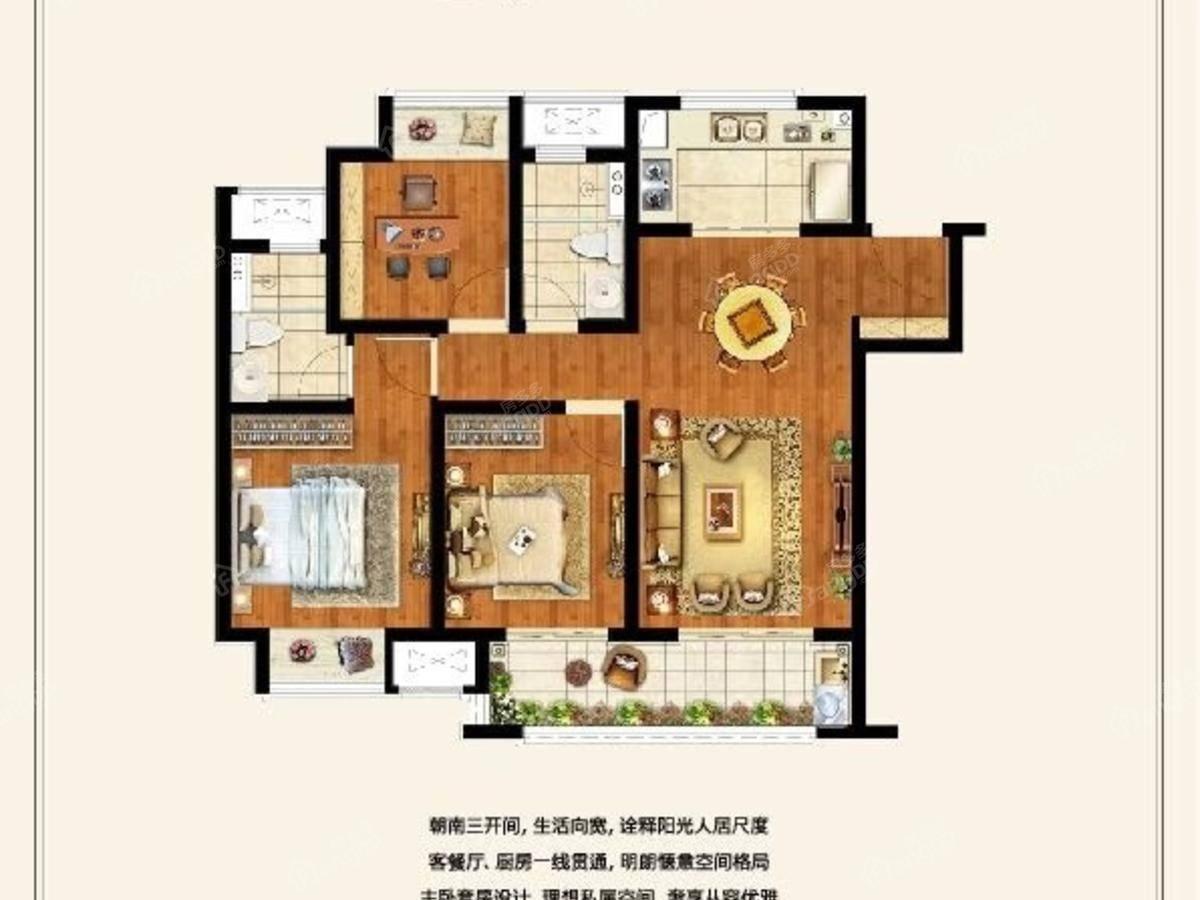 融创大塘御园3室2厅2卫户型图