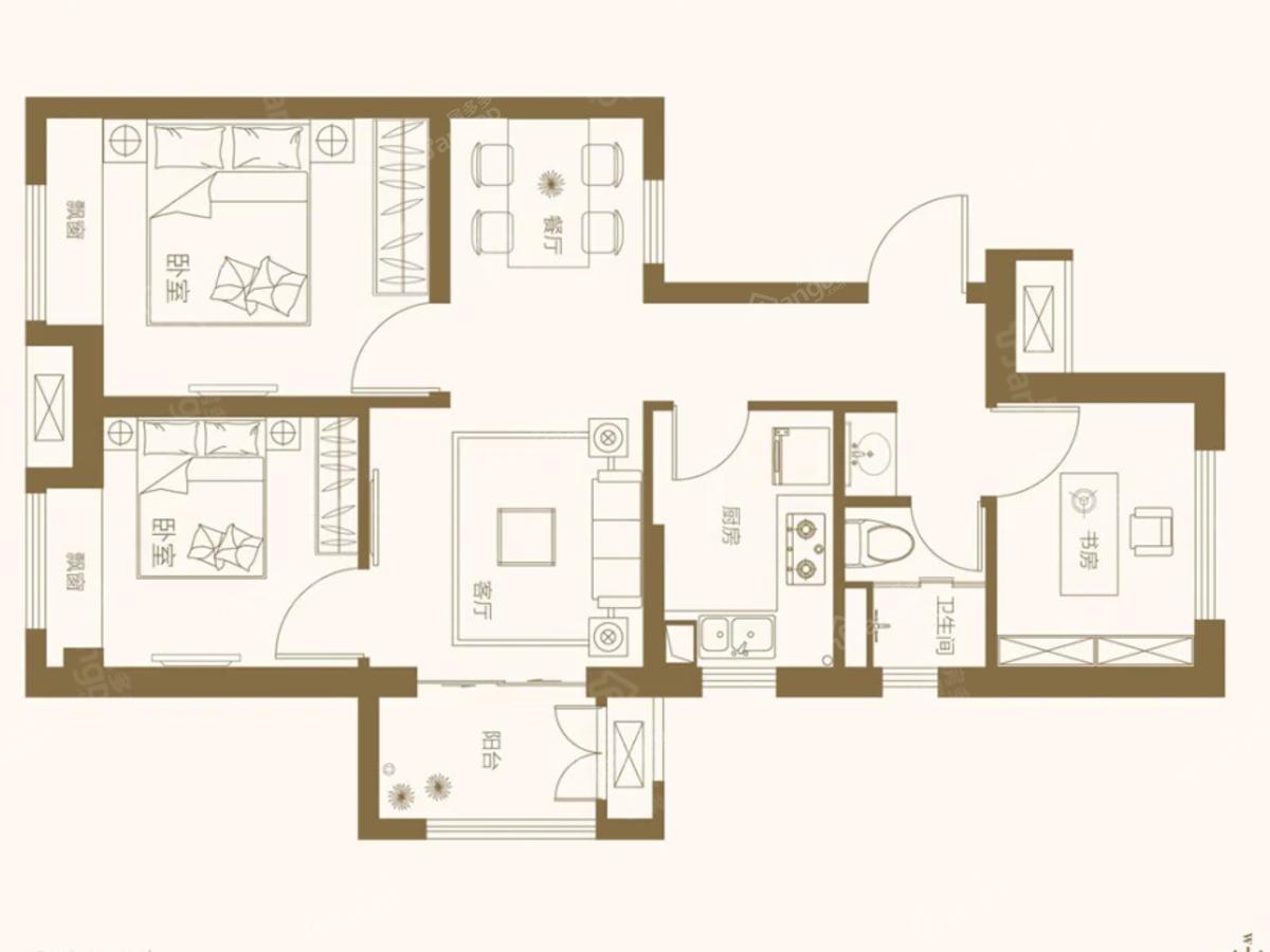 酩悦都会3室2厅1卫户型图