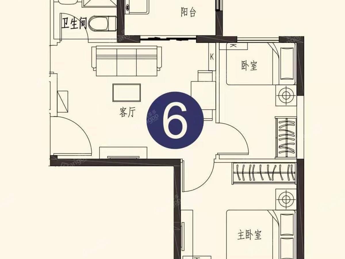 恒大世纪海岸2室1厅1卫户型图
