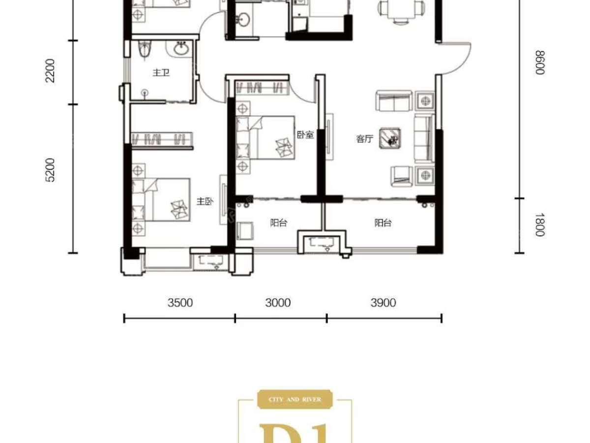 九街十八巷3室2厅2卫户型图