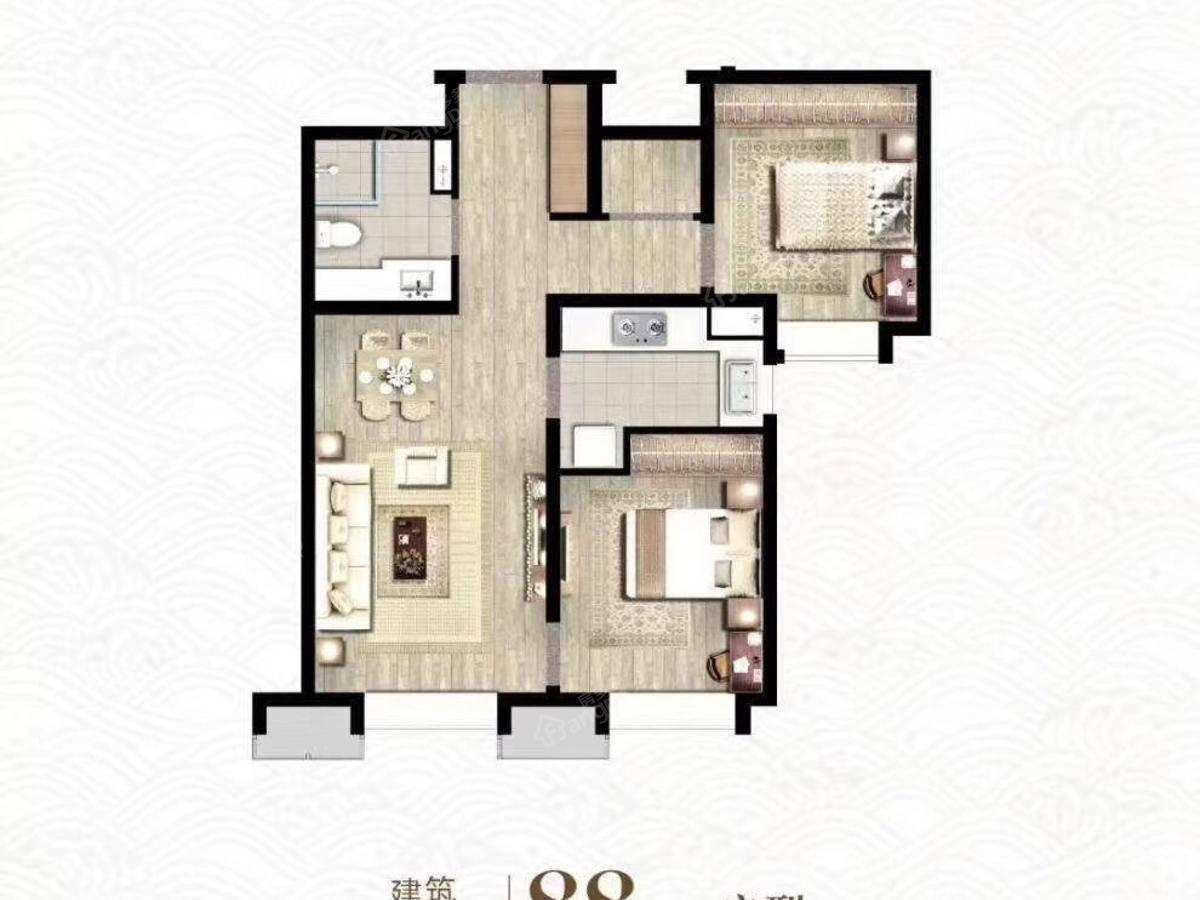 万科观澜2室2厅1卫户型图