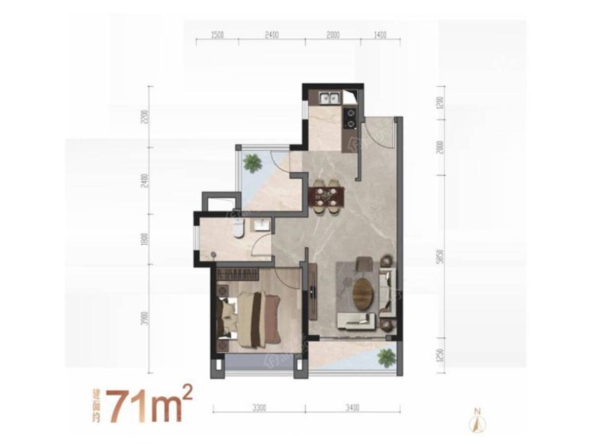 君华时代2室2厅1卫户型图