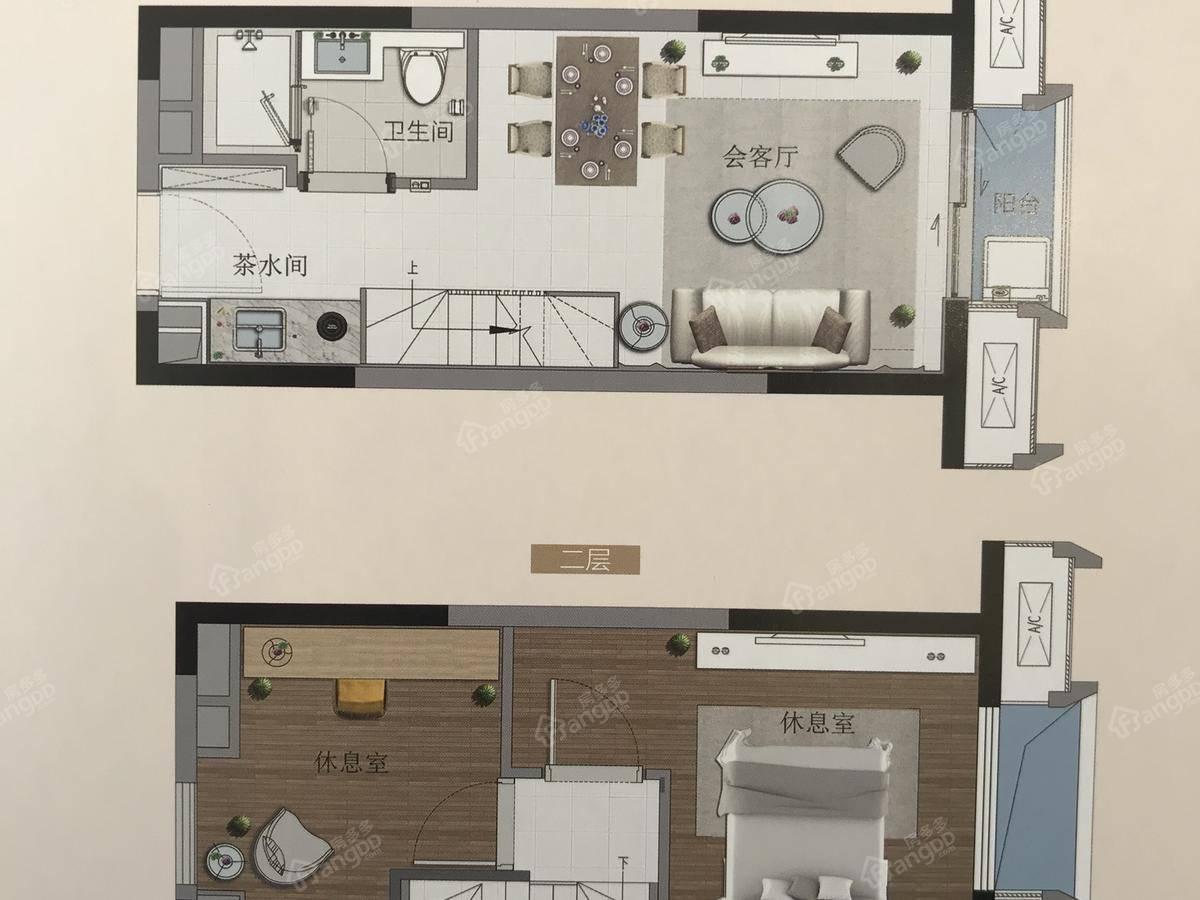 融创公园首府2室1厅1卫户型图