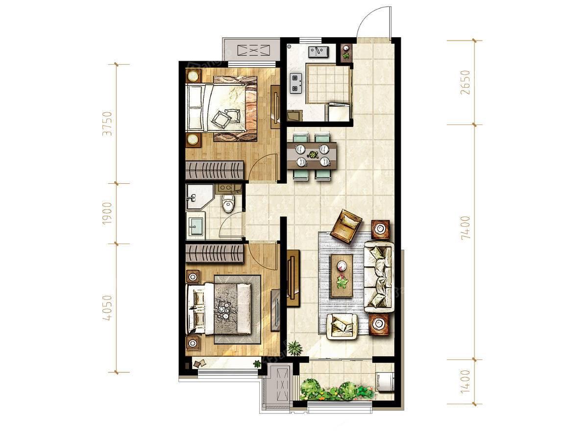 融创御河宸院2室2厅1卫户型图