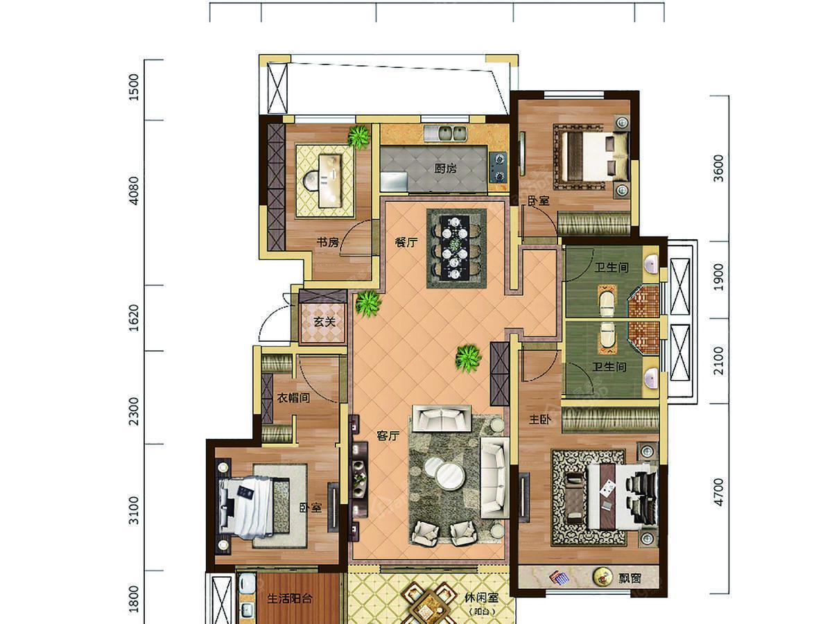 滨河名邸(临沂)4室2厅2卫户型图
