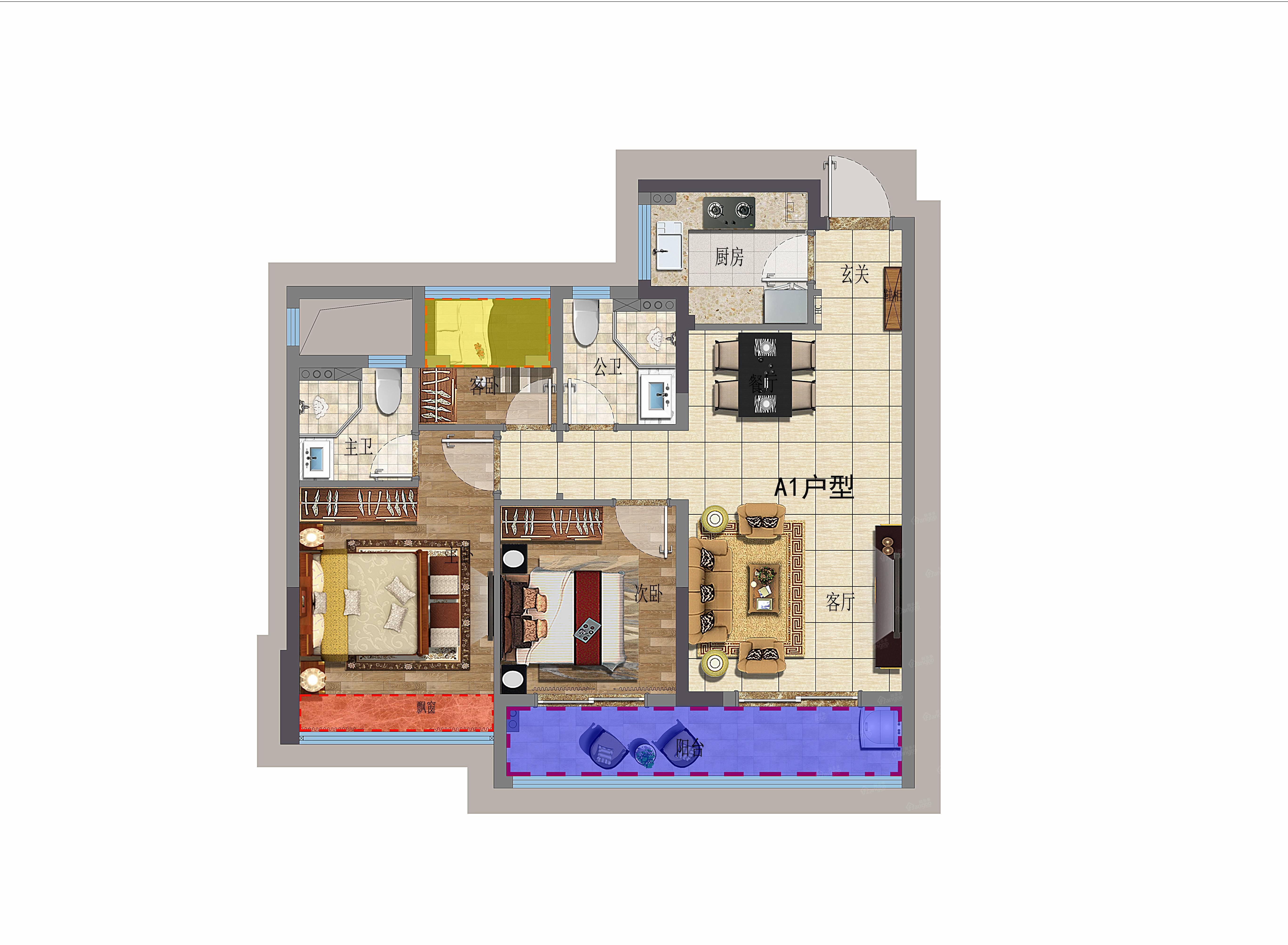 印象苕溪3室2厅2卫户型图